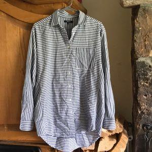 Madewell oversized shirt in crinkle stripe M